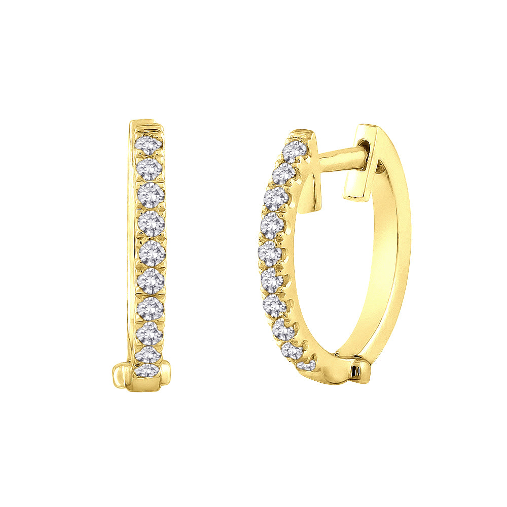 Diamond Huggie Earrings in 10K Yellow Gold (1/5 cttw)
