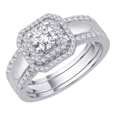 Diamond Engagement Ring with Matching Band in 14K White Gold (7/8 cttw)