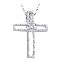 Diamond Cross Pendant with Chain in Sterling Silver (1/20 cttw)