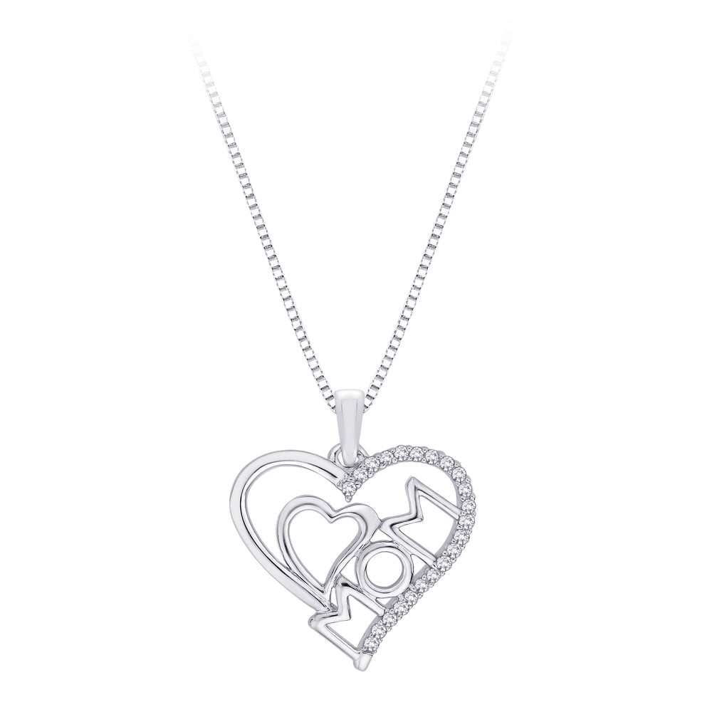 "Sterling Silver, Diamond ""Mom"" Double Heart Pendant with Chain (1/10 cttw)"