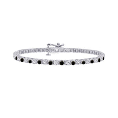 Alternating Black and White Diamond 4 Prong Tennis Bracelet in Sterling Silver (3 cttw)