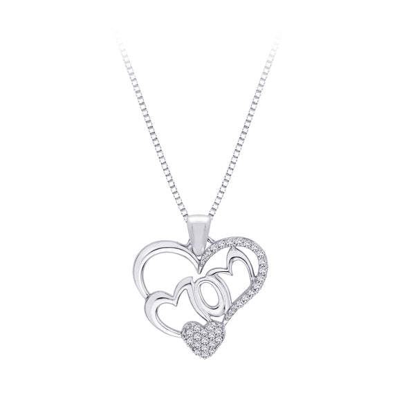 "Sterling Silver, Diamond ""MOM"" Heart Pendant with Chain (1/6 cttw)"