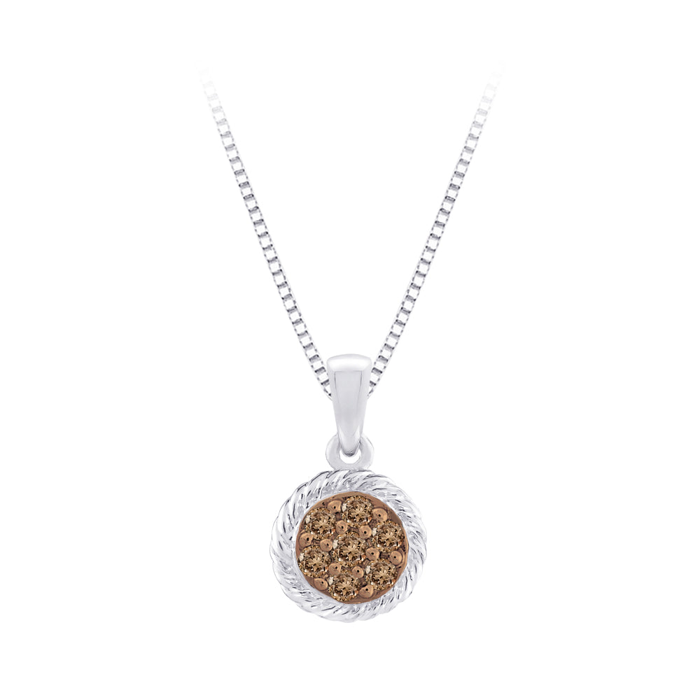 Brown Diamond Fashion Pendant with Chain in Sterling Silver (1/5 cttw)