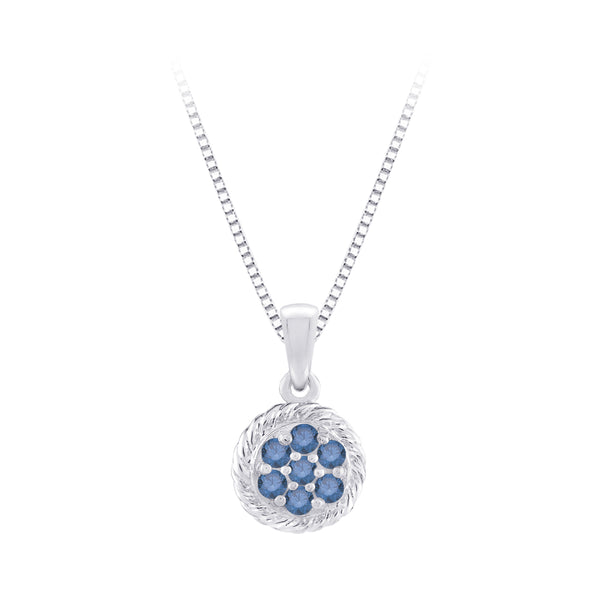 Blue Diamond Fashion Pendant with Chain in Sterling Silver (1/5 cttw)