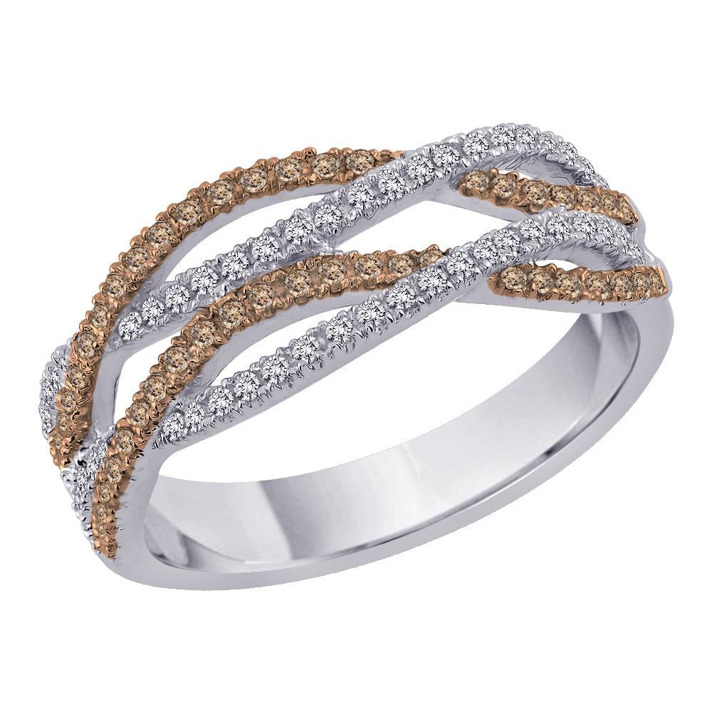 Twist Crossover Style Brown and White Diamond Ring in 10K White Gold (1/2 cttw)