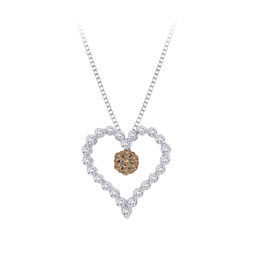 Brown and White Diamond Heart Pendant with Chain in Sterling Silver (1/5 cttw)