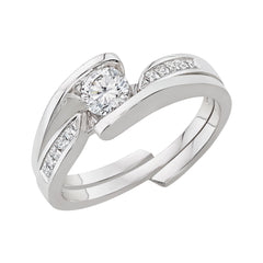 Diamond Engagement Ring and a Matching Band in 14K White Gold (1/2 cttw)