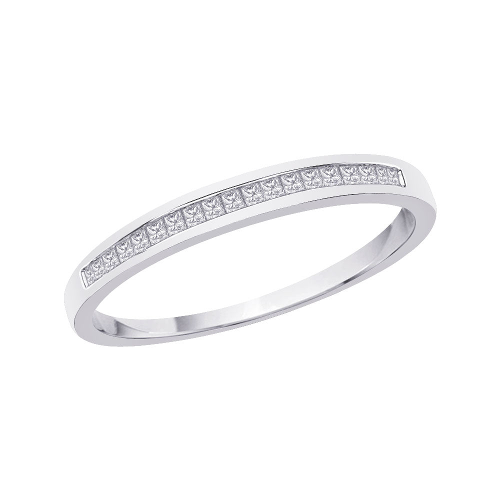 Princess Cut Diamond Wedding Band in Sterling Silver (1/10 cttw)