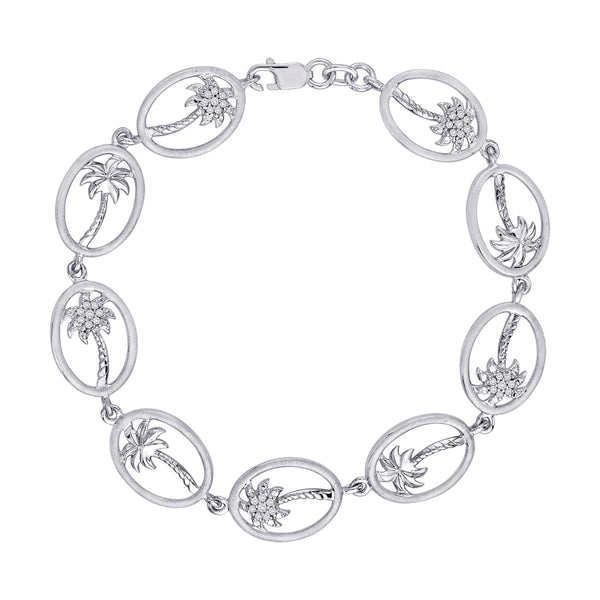 "Diamond ""Palm Tree"" Charm Bracelet in Sterling Silver (1/5 cttw)"