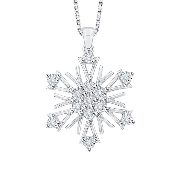 "Diamond ""Snow Flake"" Pendant with Chain Sterling Silver (1/20 cttw)"