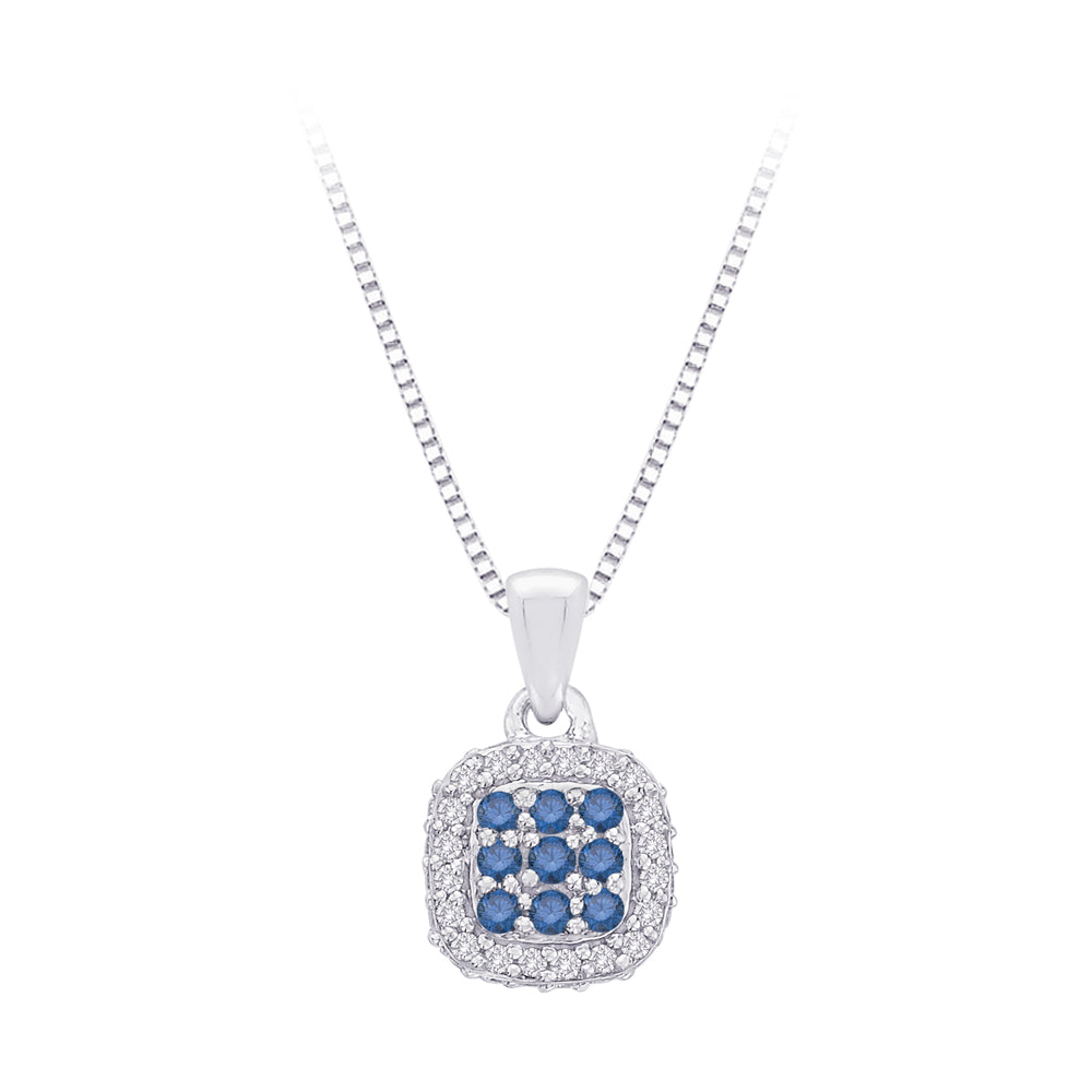 Blue and White Diamond Square Halo Pendant with Chain in 10K White Gold (1/3 cttw)