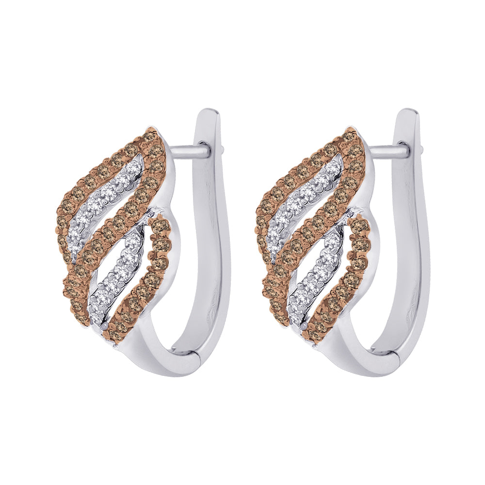 Brown and White Diamond Fashion Earrings in Sterling Silver (1/2 cttw)