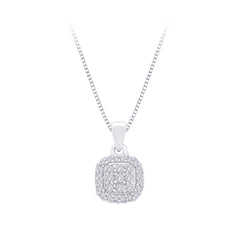 Diamond Square Halo Pendant with Chain in Sterling Silver (1/3 cttw)