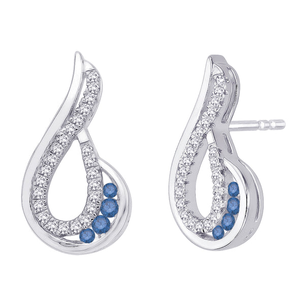 Blue and White Diamond Fashion Earrings in 10K White Gold (1/4 cttw)