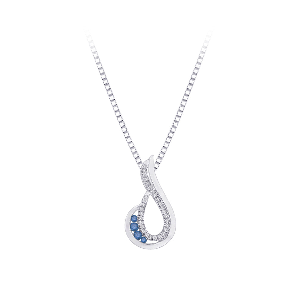 Blue and White Diamond Fashion Pendant with Chain in 10K White Gold( 1/5 cttw)
