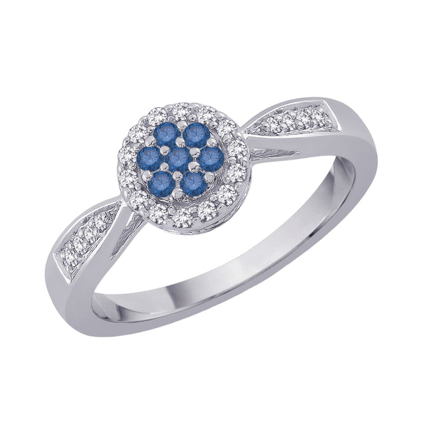 Blue and White Diamond Fashion Ring in 10K White Gold (1/4 cttw)