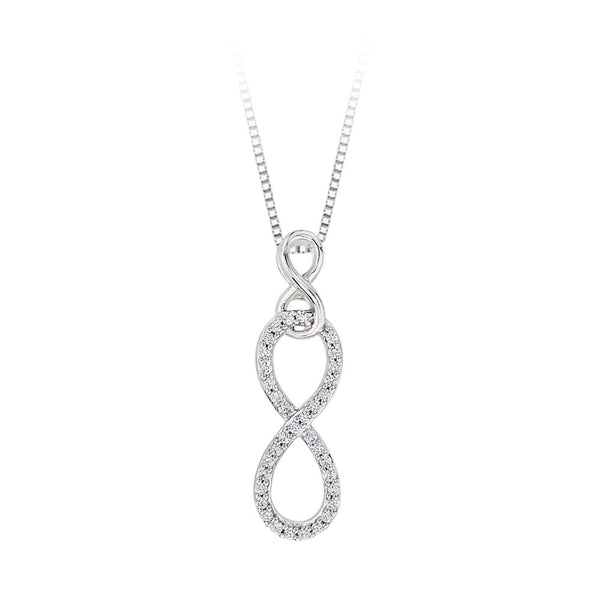 Double Infinity Diamond Pendant with Chain in 10K White Gold (1/6 cttw)