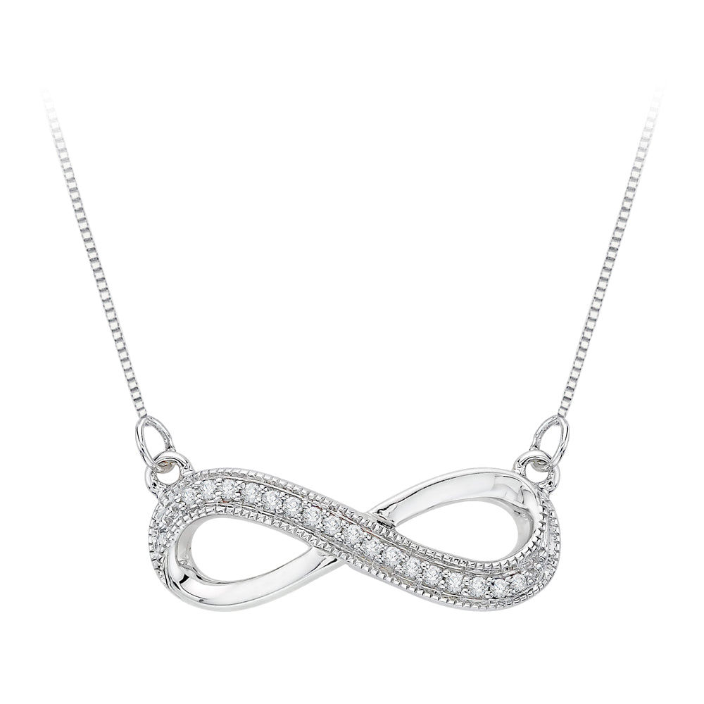 Infinity Diamond Milgrain Pendant with Chain in Sterling Silver (1/20 cttw)
