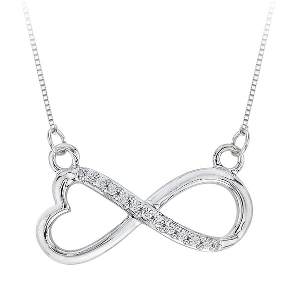 Heart Shaped Infinity Diamond Pendant with Chain in Sterling Silver (1/20 cttw)