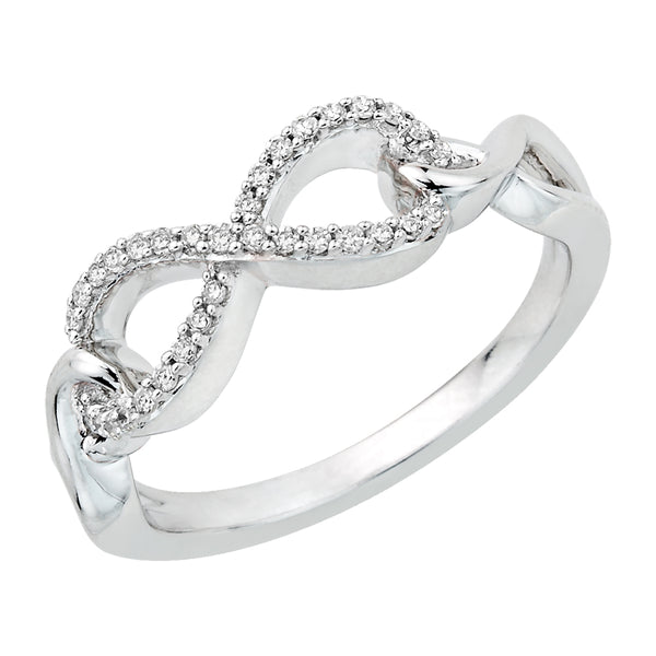 Infinity Diamond  Ring in 10K White Gold (1/8 cttw)