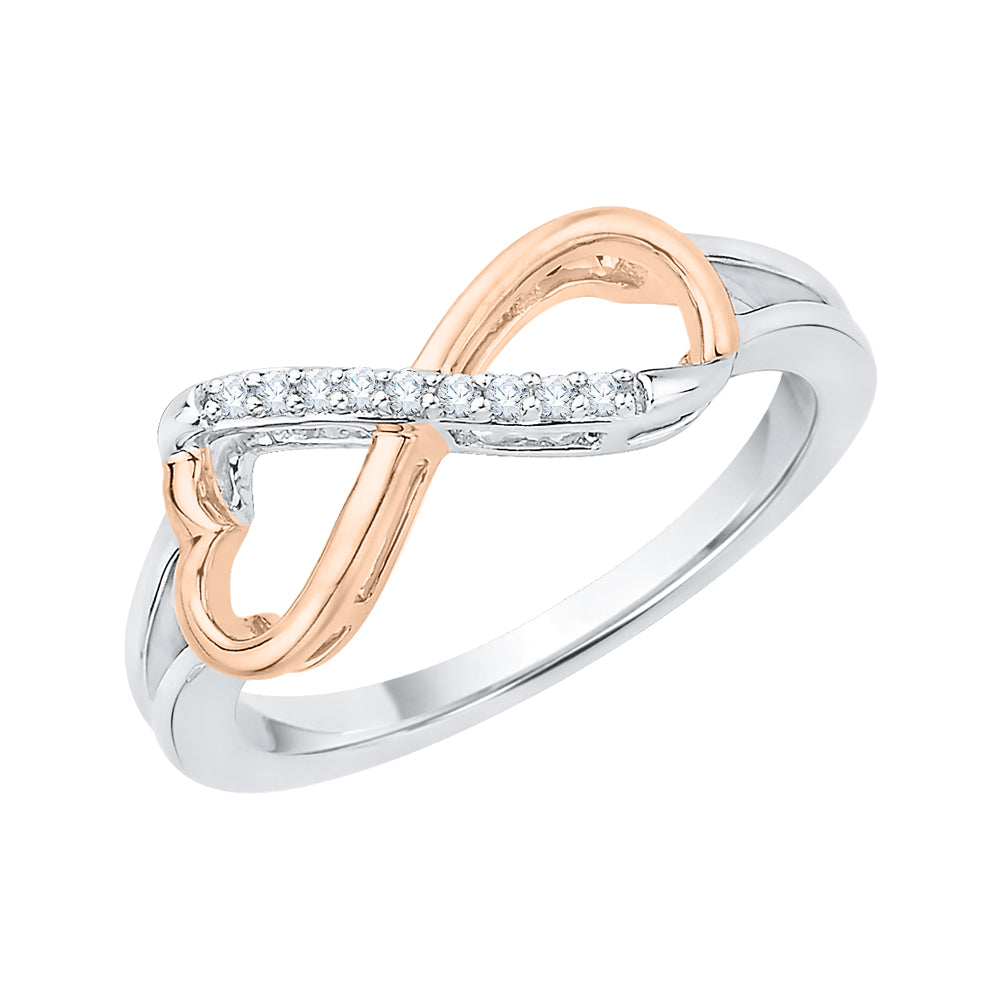 Heart Shaped Infinity Diamond Ring in 10K Two Tone Gold (1/20 cttw)