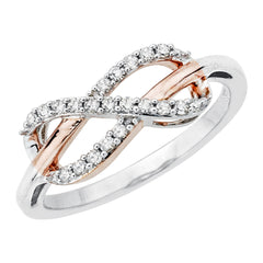 Infinity Diamond Ring 14K Two Tone Gold (1/5 cttw)