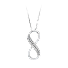 Two Row Infinity Diamond Pendant with Chain in 14K White Gold (1/20 cttw)