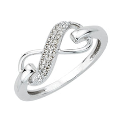 Two Row Infinity Diamond Ring in 10K White Gold (1/20 cttw)