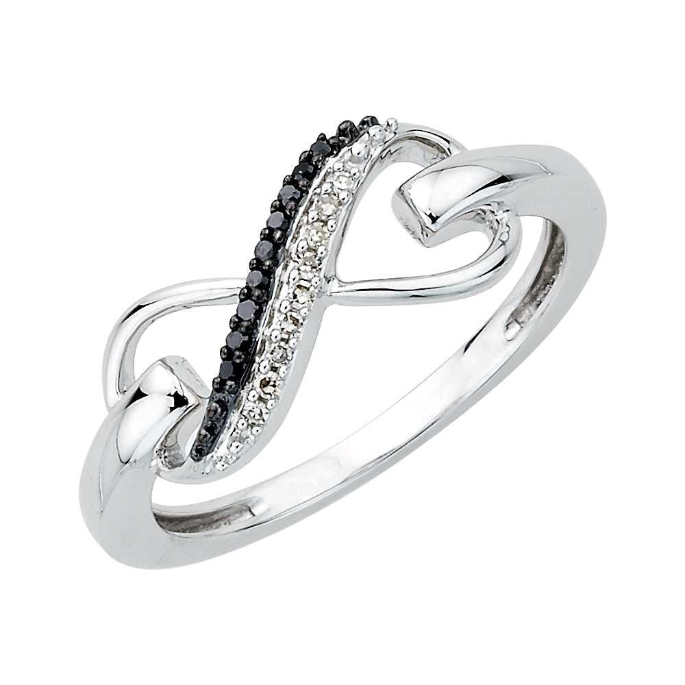 Two Row Infinity Black and White Diamond Ring in 10K White Gold (1/20 cttw)