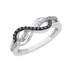 Infinity Black and White Diamond Ring in 10K White Gold (1/5 cttw)