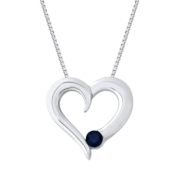 Sapphire Heart Pendant with Chain in Sterling Silver (1/6 cttw)