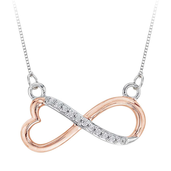Heart Shaped Infinity Diamond Pendant with Chain in 14K Two Tone Gold  (1/20 cttw)