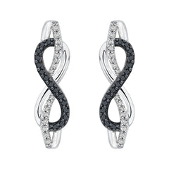 Black and White Diamond Infinity Earrings in Sterling Silver (1/4 cttw)