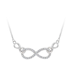 Diamond Infinity Pendant with Chain in Sterling Silver (1/8 cttw)