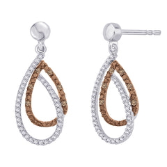 Brown and White Diamond Fashion Earrings in Sterling Silver (3/8 cttw)