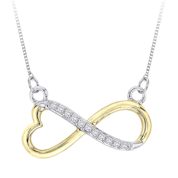 Heart Shaped Infinity Diamond Pendant with Chain 10K Two Tone Gold  (1/20 cttw)