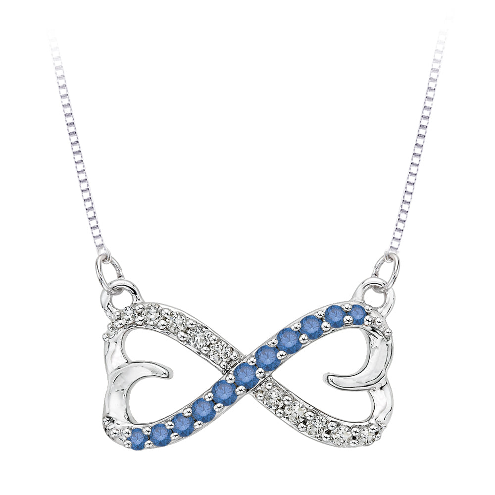 Infinity Blue and White Diamond Double Heart Pendant with Chain in 10K White Gold (1/5 cttw)