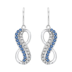 Two Row Blue and White Diamond Infinity Dangle Earrings in Sterling Silver (1/5 cttw)