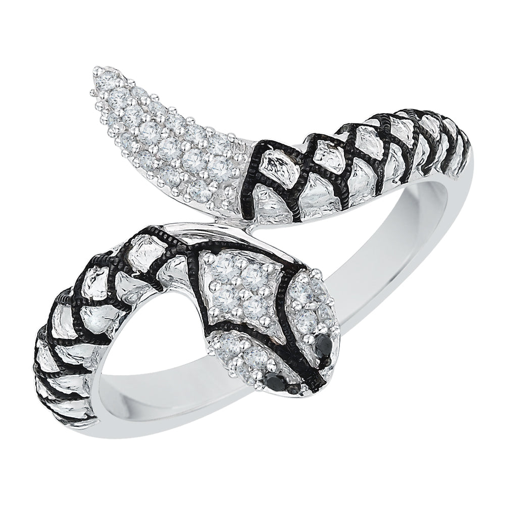 "Black and White Diamond ""Snake"" Fashion Ring in Sterling Silver (1/6 cttw)"
