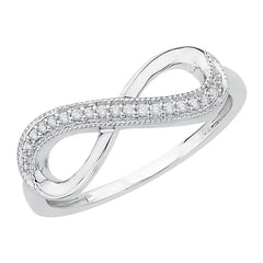 Infinity Diamond Milgrain Ring in Sterling Silver (1/20 cttw)