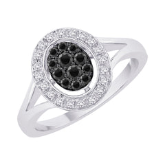 Black and White Diamond Fashion Ring in 10K White Gold (1/3 cttw)