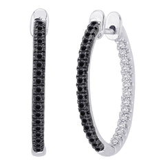"Black and White Diamond ""In and Out"" Hoop Earrings in Sterling Silver ( 1/3 cttw)"