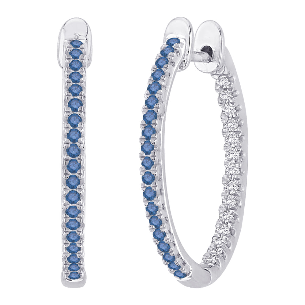 "Blue and White Diamond ""In and Out"" Hoop Earrings in 14K White Gold ( 1/3 cttw)"