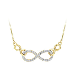 Diamond Infinity Pendant with Chain in 10K Yellow Gold (1/8 cttw)