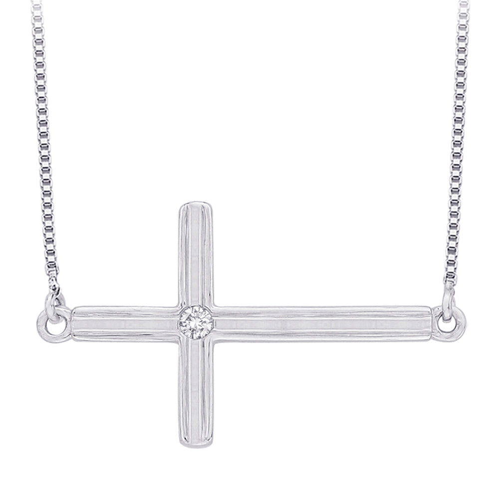 Bezel Set Diamond Accent Cross Pendant with Chain in Sterling Silver
