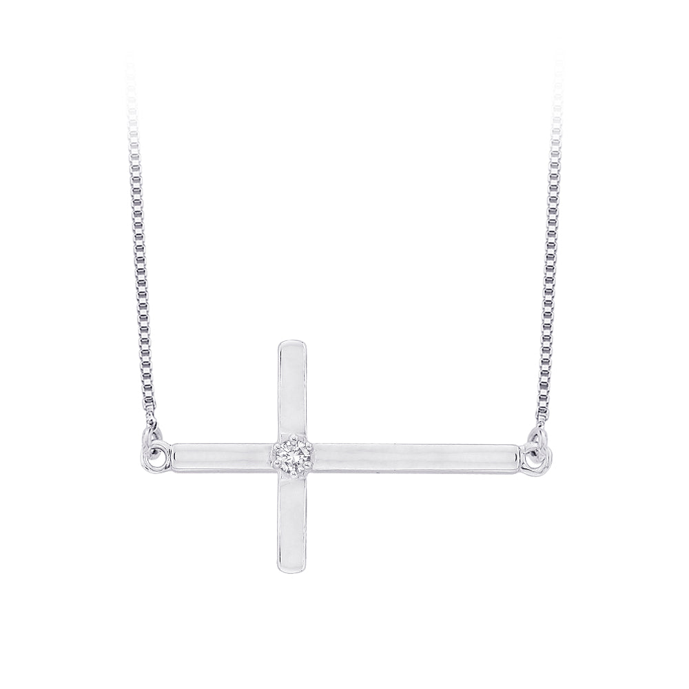 Diamond Accent Cross Pendant with Chain in 10K White Gold