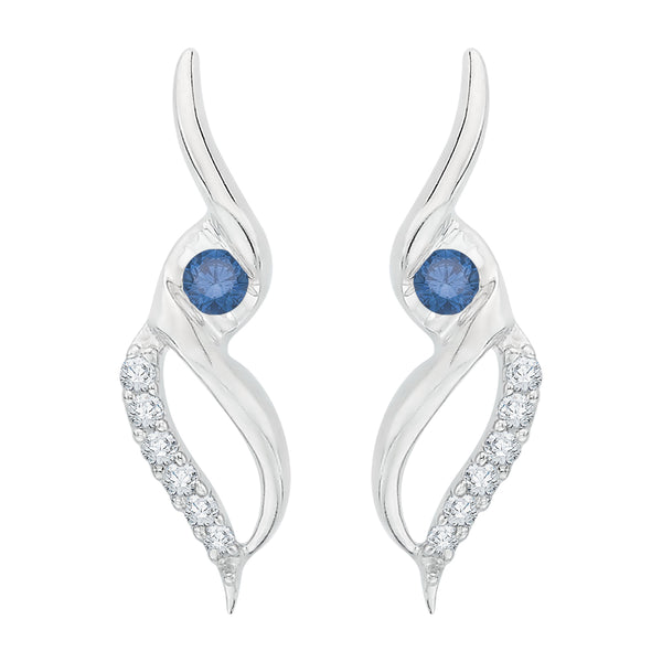 Center Blue and White Diamond Earrings in 10K White Gold (1/10 cttw)