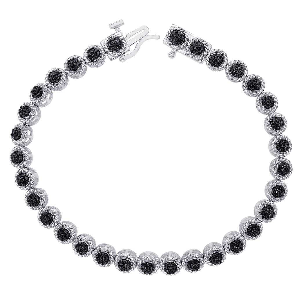 Black Diamond Tennis Bracelet in Sterling Silver (1/5 cttw)