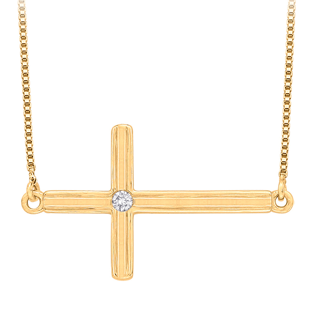 Bezel Set Diamond Accent Cross Pendant with Chain in 10K Yellow Gold