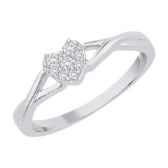 Diamond Heart Ring in Sterling Silver (1/10 cttw)